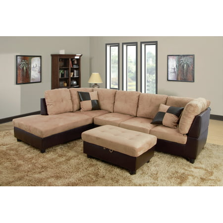 AYCP Furniture 3pcs L-Shape Sectional Sofa Set, Left Hand Facing Chaise,  Microfiber & Faux Leather Upholstery Material, Beige Color, More Colors &  ...