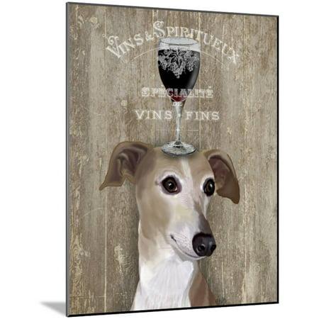 Dog Au Vin Greyhound Wood Mounted Print Wall Art By Fab Funky ()