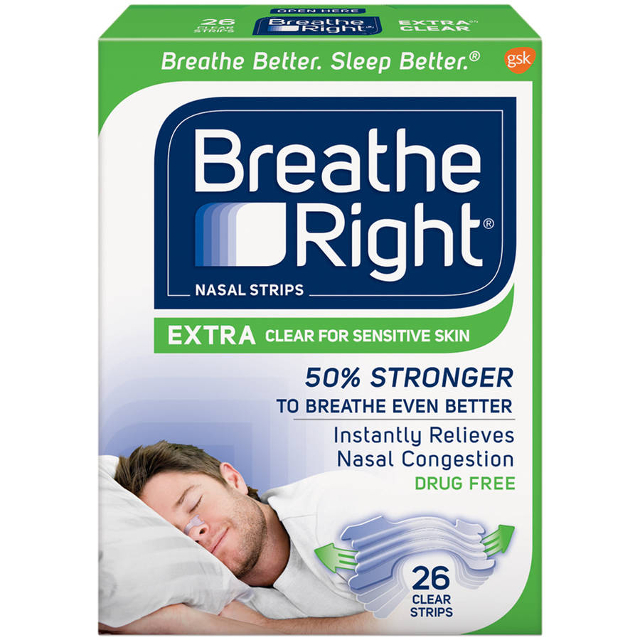 Breathe Right Extra Nasal Strips, Clear Color Strips for Sensitive Skin, Drug Free, 26 Strips