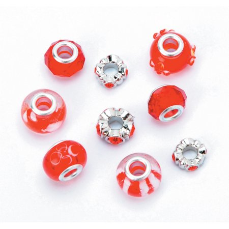 Darice Mix and Mingle Glass Metal Red Lined Beads, 9 Piece