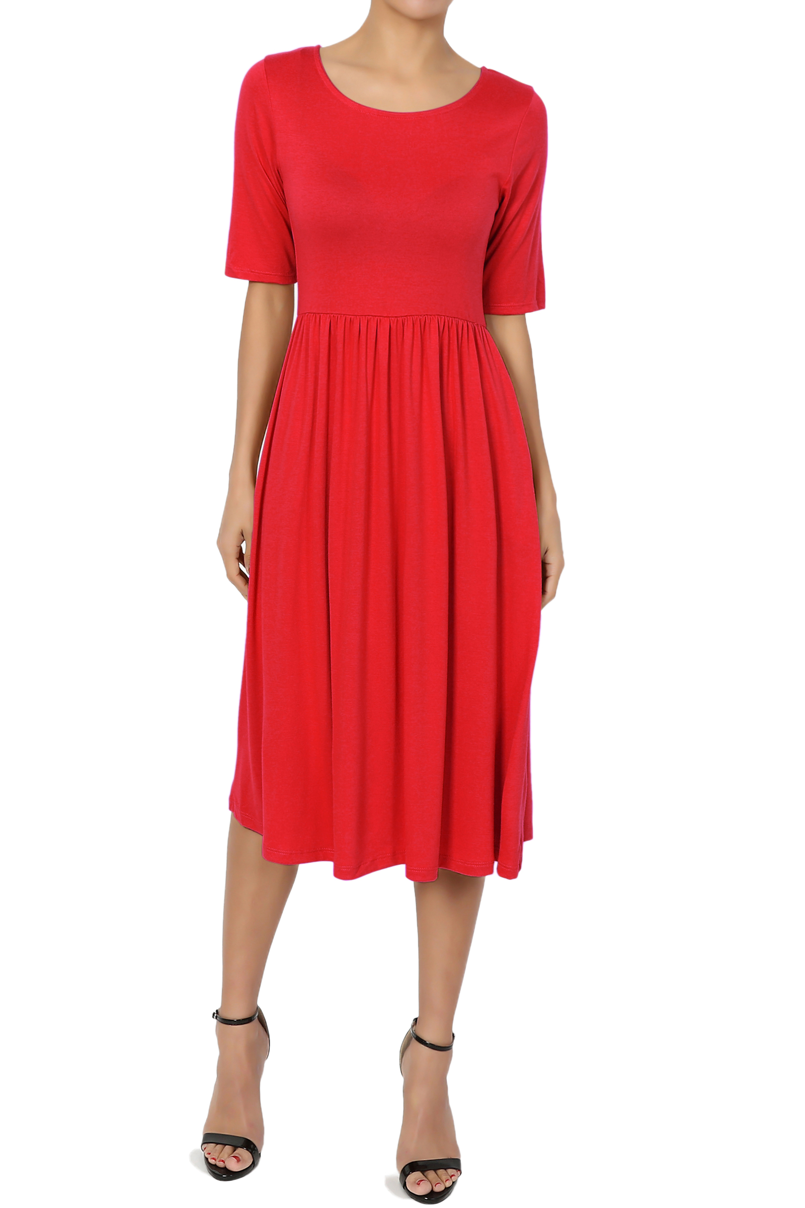 TheMogan Women's PLUS Short Sleeve Pleated Empire Waist Fit & Flare Pocket Dress