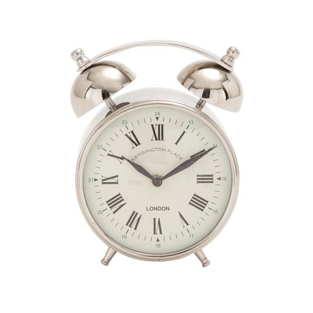 Decmode Stainless Steel Table Clock, Multi Color Stainless Steel Kitchen Clock