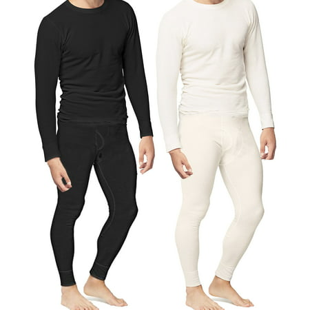 - Mens 2pc Thermal Underwear Set Shirt Pants Top Bottom Waffle Knit Cotton Long John