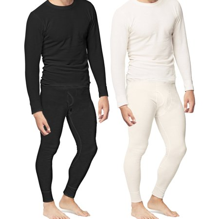 Mens 2pc Thermal Underwear Set Shirt Pants Top Bottom Waffle Knit Cotton Long John