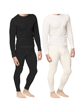 Mens 2pc Thermal Underwear Set Shirt Pants Top Bottom Waffle Knit Cotton Long John