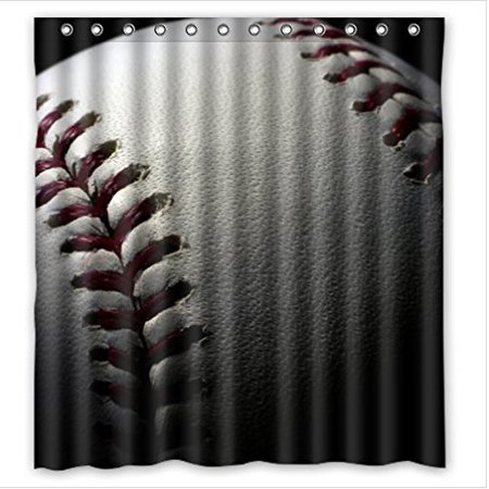 Greendecor Durable Baseball Sports Waterproof Shower Curtain Set With Hooks Bathroom Accessories Size 66x72 Inches