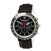 Wenger Men's 01.0853.105 Roadster Black Night Black Dial Black Leather Strap Chronograph Watch