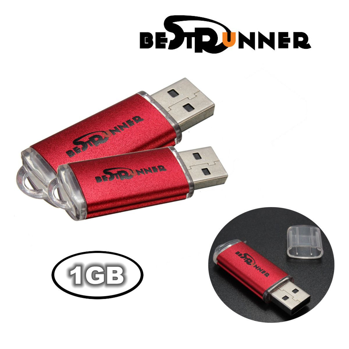 2PCS BESTRUNNER 1GB USB 2.0 Flash Drive Pen Bright Memory Stick Thumb Disk Gift Idea