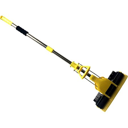 2 in 1 Multi Surface Sweeper Push Mop with Detachable Sponge Broom Dust Free for Wood Tile Linoleum Travertine Stone Carpet for Kitchen Bath & Garage Floor