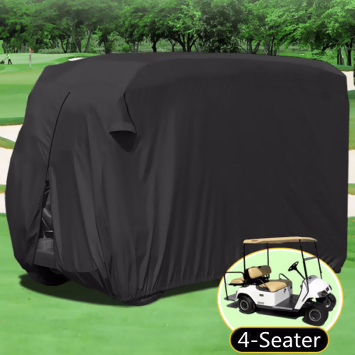 Waterproof 4 Passenger Golf Cart Cover 112''x48''x66'' fits for E Z GO, Club Car and for Yamaha G model by