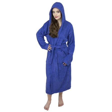 Women 100% Luxury Terry Cotton Hooded Shawl Bathrobe Toweling Spa