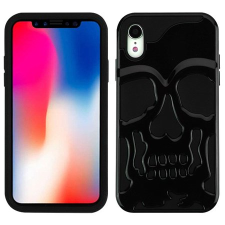 """Apple iPhone XR (6.1 inch) Phone Case Tuff Hybrid Shockproof Impact Rubber Dual Layer Hard Soft Protective Hard Case Cover Skull Black Phone Case for Apple iPhone Xr (6.1"""")"""