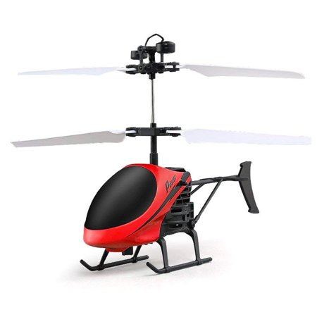 Controlled Mini Helicopter (Mini RC Hand Induction Helicopter Radio Remote Control Flying Aircraft Flashing Light Toys For Kids USB Charged Airplanes Birthday Present Xmas Gift(Red))