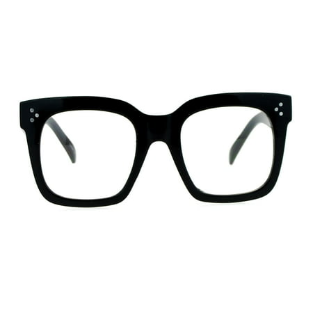 SA106 Oversize Thick Plastic Nerd Rectangular Horn Rim Horned Clear Lens Glasses Shinny (Thick Rimmed Eyeglasses)