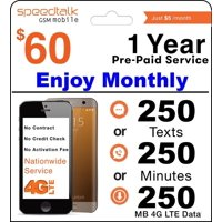 1 Year Prepaid GSM SIM Card - Monthly 250 Talk Or 250 Text Or 250MB Data Txt No Contract 12 Months Plan