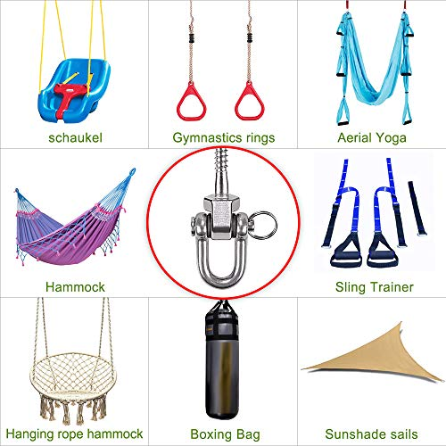 NB 2 Sets Heavy Duty Swing Hangers Hooks GYM 304 Stainless Steel 180/°Swivel Hammock Hooks with Screws for Concrete Wooden Sets Playground Porch Indoor Outdoor Seat Trapeze Yoga