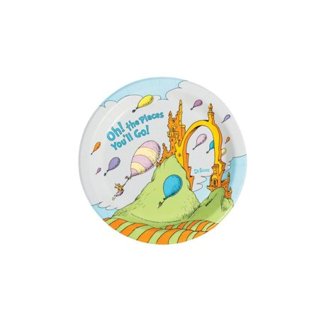 Dr. Seuss(TM) Oh the Places Paper Dessert Plates (Paper Plates Dr Seuss)
