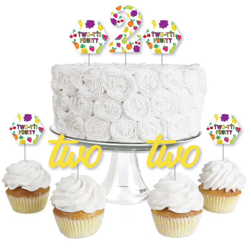2nd Birthday TWO-tti Fruity - Dessert Cupcake Toppers - Frutti Summer Second Birthday Party Clear Treat Picks - 24 Ct