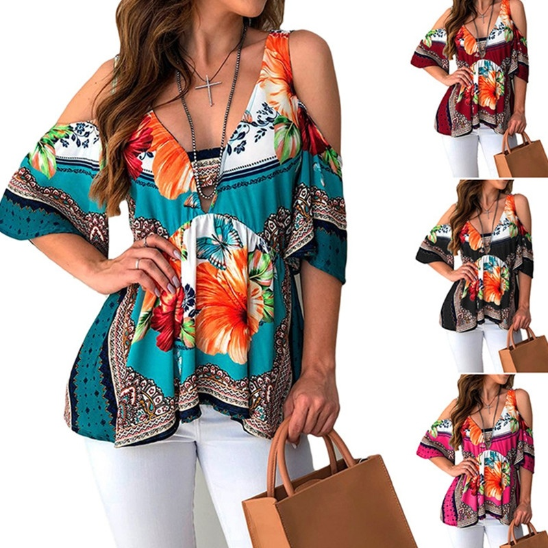 Women Open Back Print Top T-Shirt Fashion Strapless Blouse Loose Plus Size