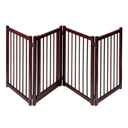 81quot Wooden Pet Dog Gate With Door Adjustable Freestanding Fence
