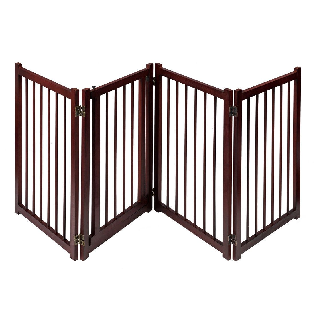 "81"" Wooden Pet Dog Gate with Door Adjustable Freestanding Fence Folding 4 Panel"