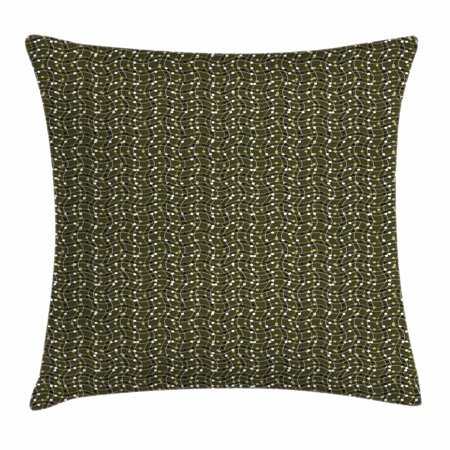 Motif Olive (Abstract Throw Pillow Cushion Cover, Sea of Geometrical Patterns Wave Design Dots and Lines Square Motifs, Decorative Square Accent Pillow Case, 20 X 20 Inches, Olive Green Black White, by)