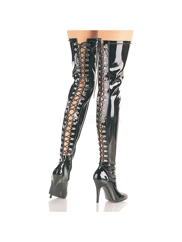 SED3063/B Pleaser Single Soles Thigh High Boots BLACK Size: 13