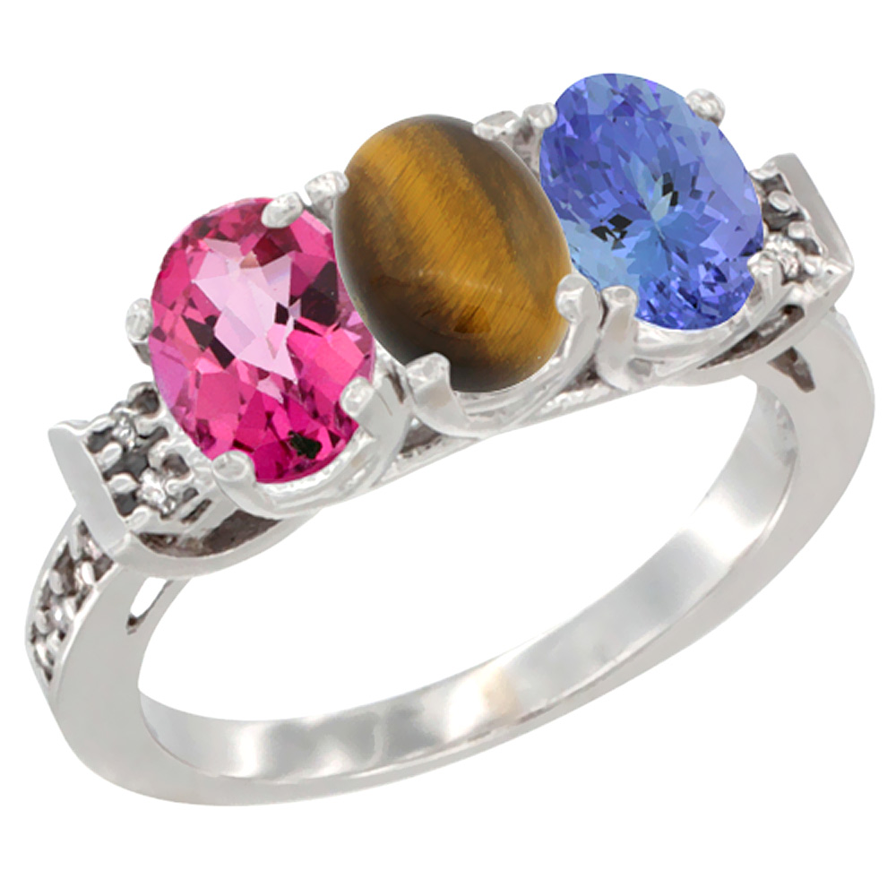 10K White Gold Natural Pink Topaz, Tiger Eye & Tanzanite Ring 3-Stone Oval 7x5 mm Diamond Accent, sizes 5 10 by WorldJewels