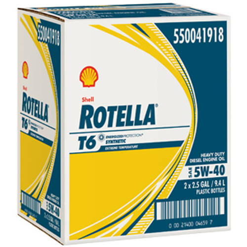Shell Rotella T6, 5W40 Motor Oil, 2-pack of 2.5 Gallon Bottles