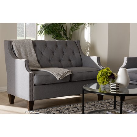 Studio Upholstered Loveseat (Baxton Studio Celine Modern and Contemporary Grey Fabric Upholstered Button-Tufted 2-Seater Loveseat )