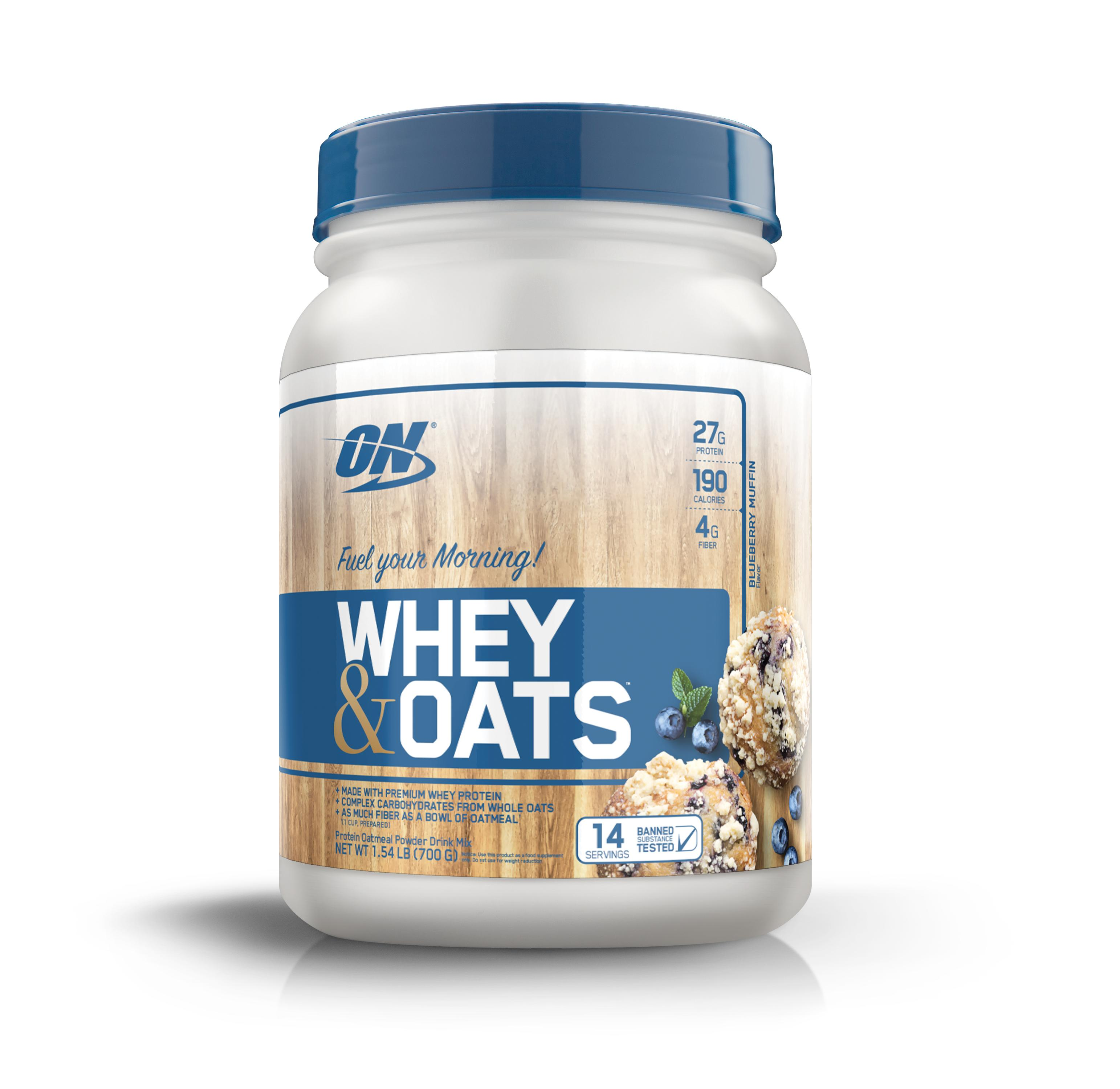 Optimum Nutrition Whey & Oats Protein Powder, Blueberry Muffin, 27g Protein, 1.54 Lb