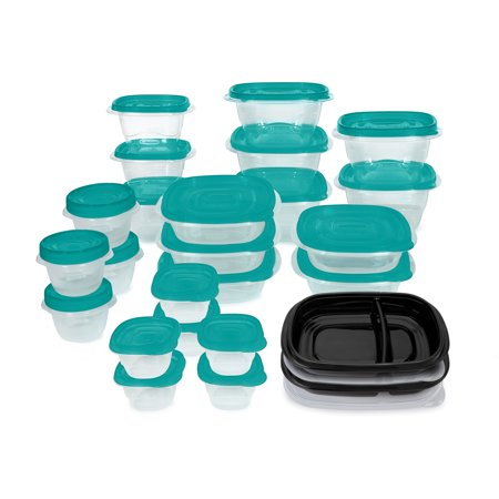 Rubbermaid TakeAlongs Meal Prep 50- Piece Food Storage Containers, Teal