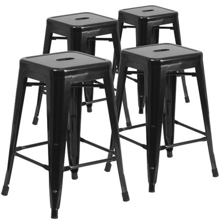 Terrific Flash Furniture 24 High Backless Metal Indoor Outdoor Counter Height Stool With Square Seat 4 Pack Multiple Colors Machost Co Dining Chair Design Ideas Machostcouk