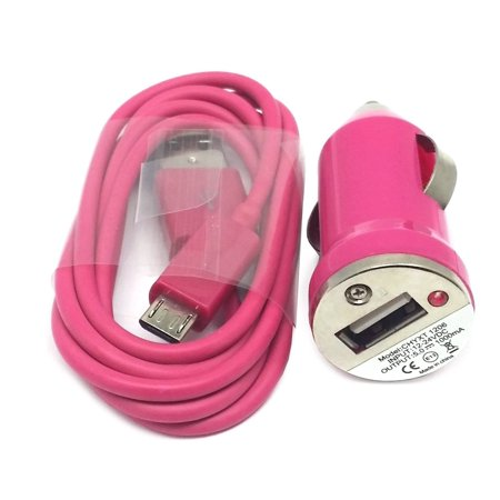 Mini USB Car Charger Adapter + Micro USB Cable (3ft) - Pink