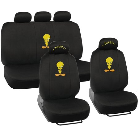 tweety bird car seat covers auto interior gift set 2 front seat 1 rear seat full set
