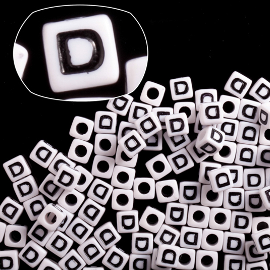 Letter D White Acrylic Cube Alphabet Beads 7mm 50Gram/209pcs