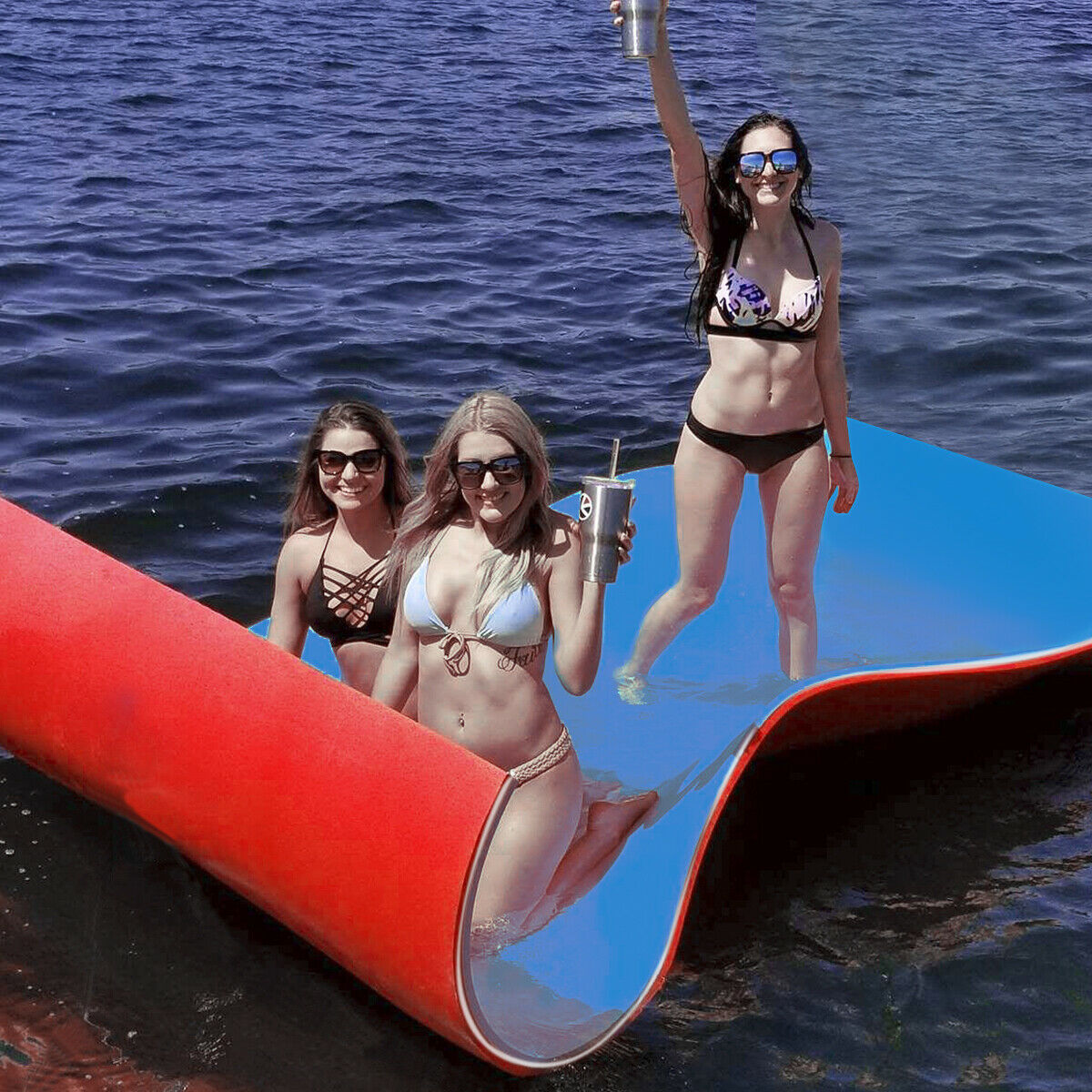 Gymax 3 Layer Water Mat Floating Pad Island Water Sports Recreation Relaxing 9' x 6'