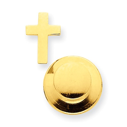 14k Yellow Gold Cross Tie Tac