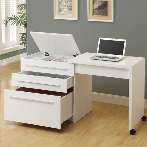 Monarch Slide Out Desk With Storage Drawers White