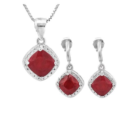 4.25ct Genuine Ruby & Diamond Accents 925 Sterling Silver Jewelry Set ()
