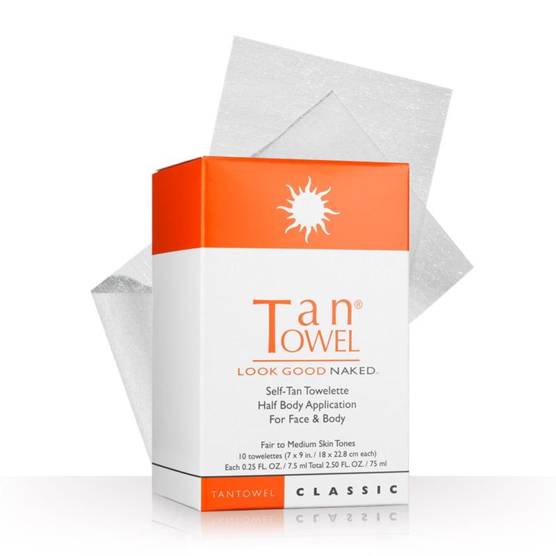 Tan Towel Half Body Towelettes, 10 Ct.