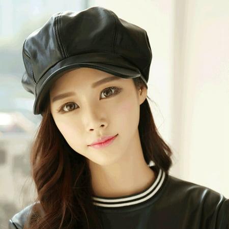 Stylish Women Casual Vintage PU Leather Octagonal Hat Caps Warm Bonnet Beret for Warm Hat Spring Winter Outdoor But I Vintage Bonnet