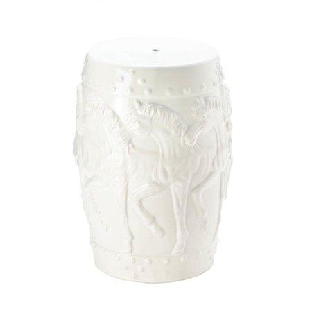 Image of Accent Plus Stool Ceramic, White Horse Outdoor Ceramic Garden Stool For Patio - Round