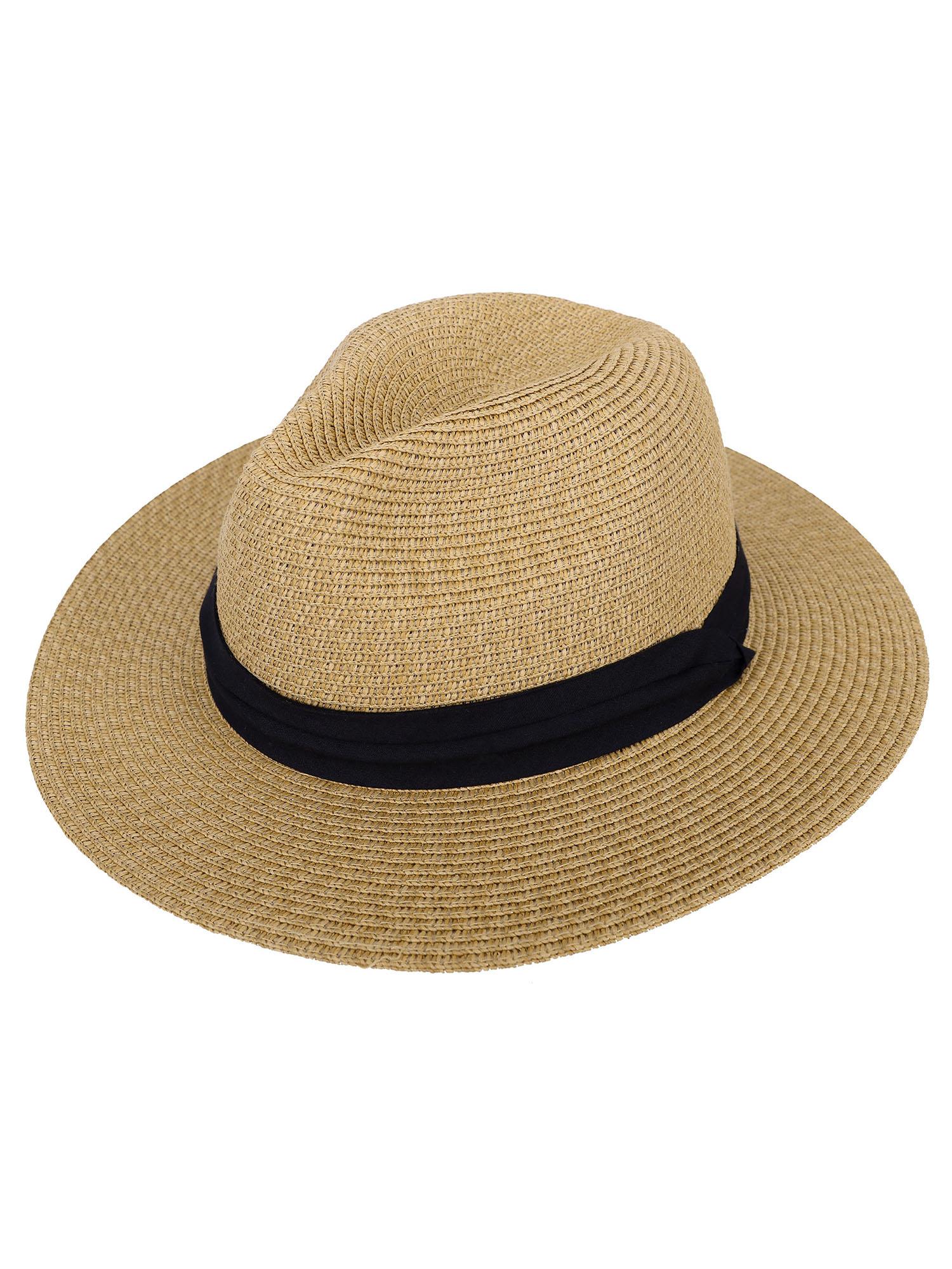fb5dc07f5344f1 Simplicity - Panama Straw Hat Men Women's Wide Brim Packable Roll up Fedora Beach  Sun Hat, Brown - Walmart.com
