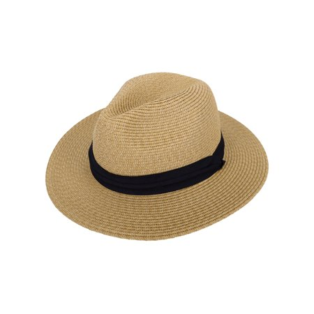 Panama Straw Hat Men Women's Wide Brim Packable Roll up Fedora Beach Sun Hat, Brown - White Derby Hat