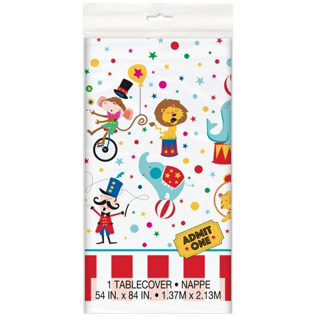 Circus Carnival Plastic Tablecloth, 84 x 54 in, 1ct