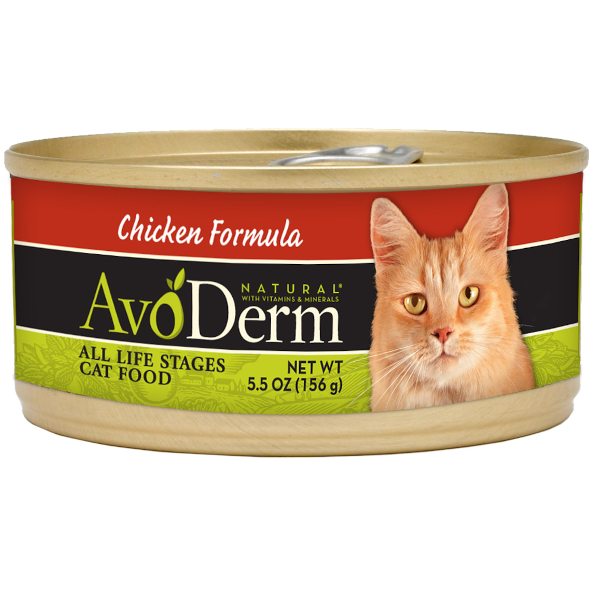 (2 Pack) AvoDerm Natural Chicken Formula for Cats, 5.5-Ounce Cans, Case of 24