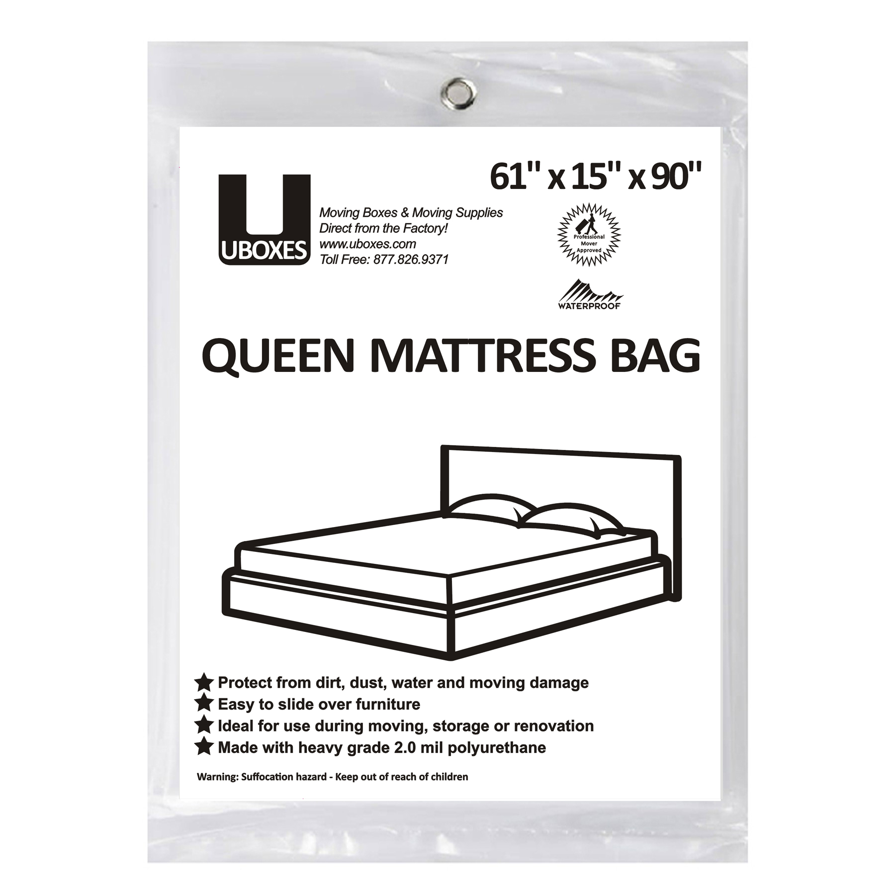 Uboxes Queen Mattress Poly Covers, 61 x 15 x 90 in, 1 Pack