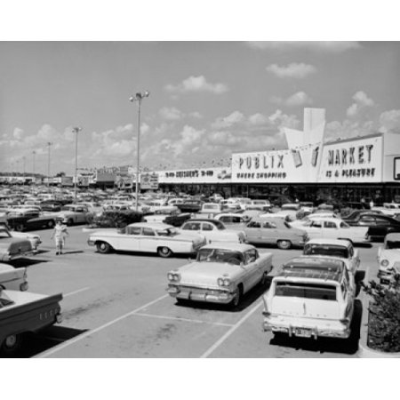 Cars parked in front of a shopping mall North Gate Shopping Center Tampa Florida USA Stretched Canvas -  (18 x (Florida Mall Florida)