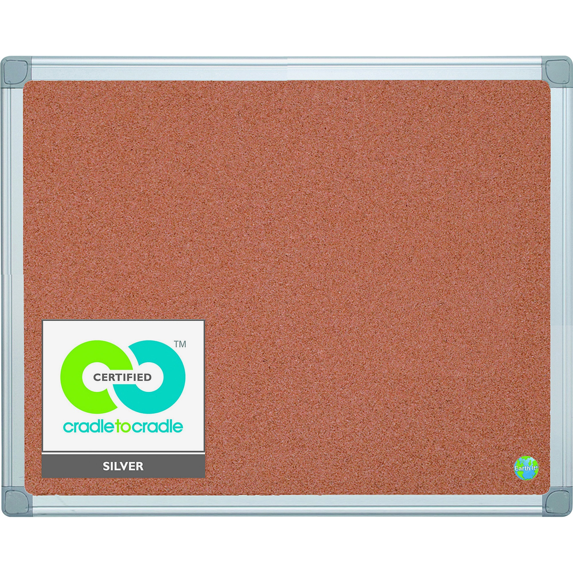 MasterVision, BVCCA031790, Earth It! Aluminum Frame Cork Board, 1 Each